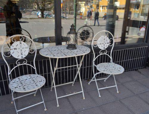 Cafegrupp trädgårdsgrupp smide 2 stolar + bord