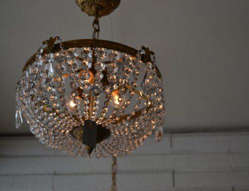 Kristallampa med korgbotten, plafond