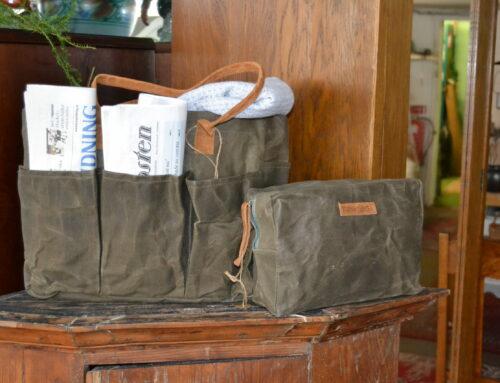 Väska Ruben samt necessär grön i vaxat tyg