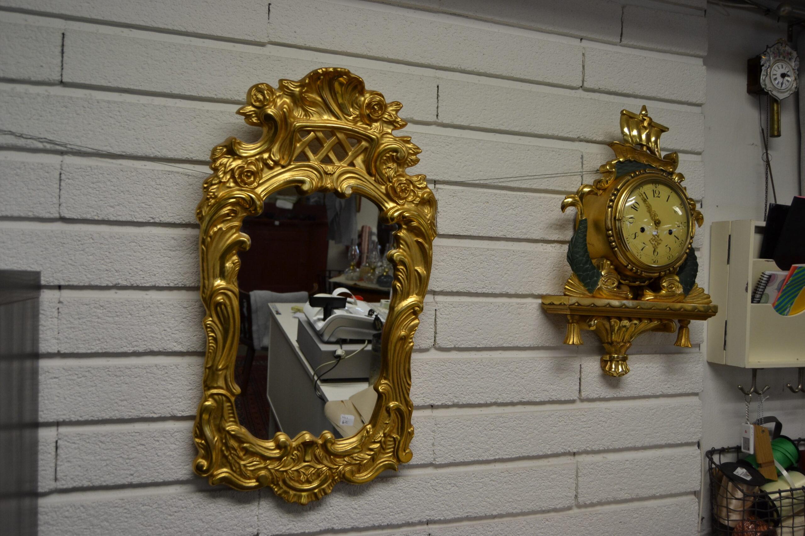 Spegel delvis förgylld bladguld