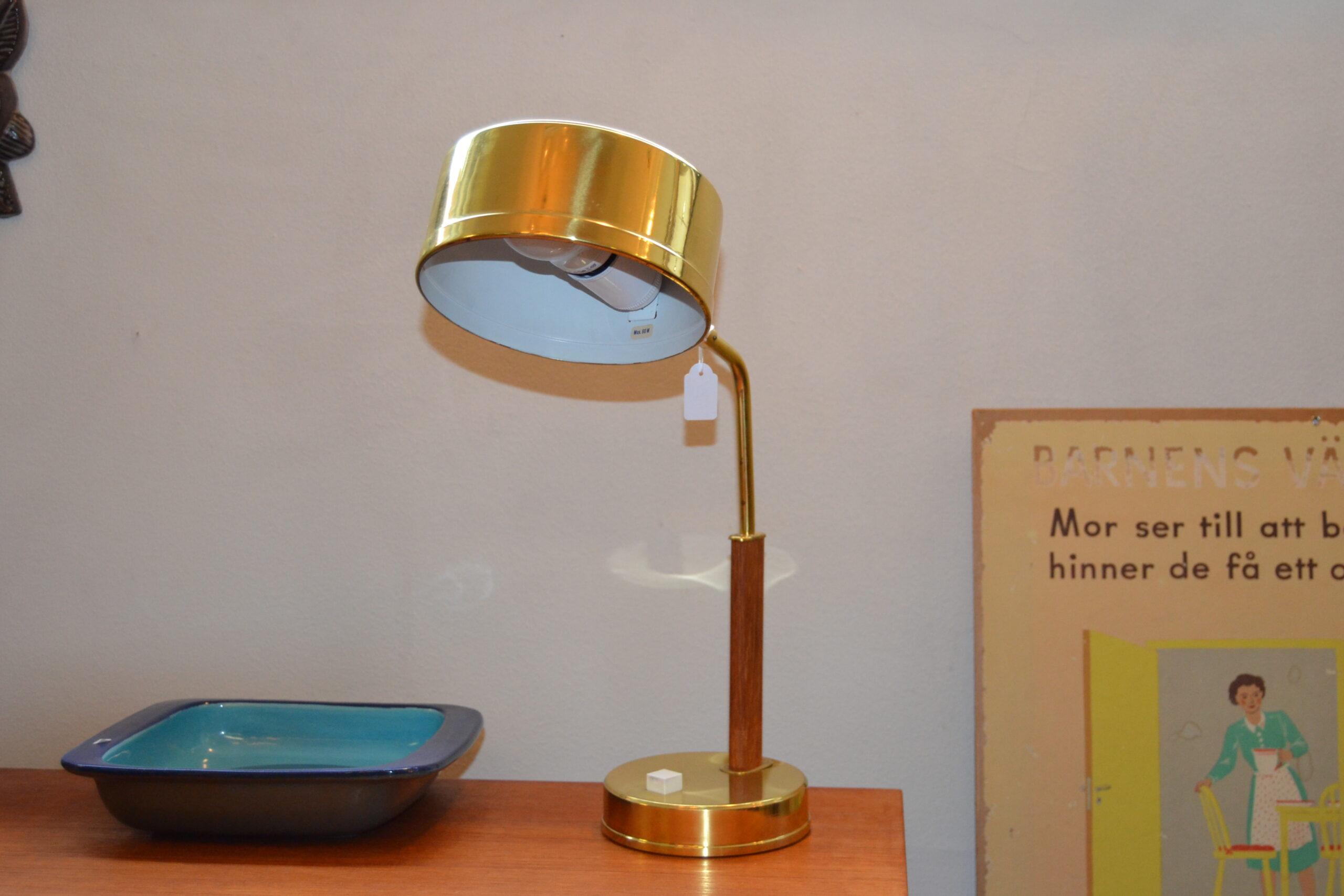 Bordlampa i teak & mässing 50-60 tal