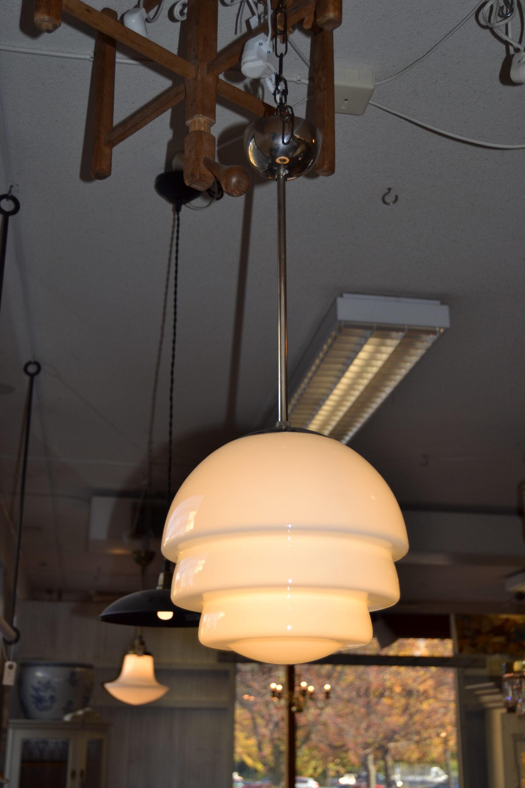 Art deco pendel taklampa glas & metall kromad